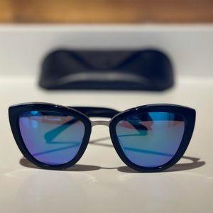 DIFF Eyewear Blue Lens Black Frame Rose Sunglasses